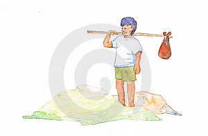Travelling Boy In Water Color Royalty Free Stock Photography - Image: 14242787