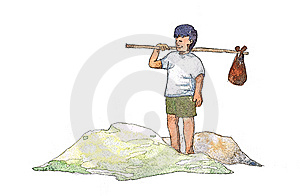 Travelling Boy In Art Line Stock Images - Image: 14242854