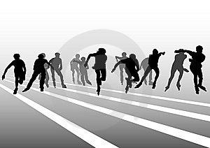 Skates People Start Royalty Free Stock Photography - Image: 14245337