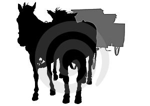 Two Horse And Cart Royalty Free Stock Images - Image: 14245339