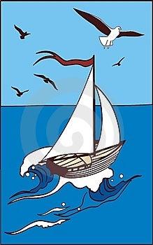 Yacht At-sea And Seagulls Royalty Free Stock Photos - Image: 14249148