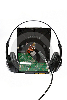 Harddisk With Headphone Royalty Free Stock Images - Image: 14249279