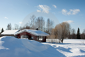 Small Wooden House In Winter. Stock Images - Image: 14249494