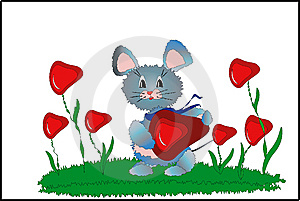 Mouse With Heart. Stock Photos - Image: 14249583
