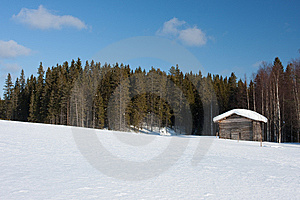 Small Wooden House In Winter. Stock Photo - Image: 14249630