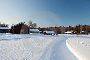 Small Wooden Houses In Winter. Stock Image - Image: 14250201