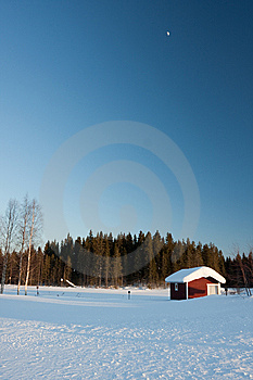 Small Wooden House In Winter. Stock Photo - Image: 14250450