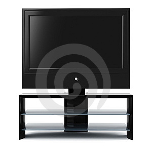 3d Tv Set, Studio Render, On White Stock Photography - Image: 14251132