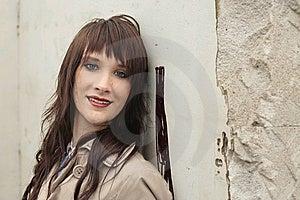 Girl Near Wall Royalty Free Stock Photography - Image: 14251777