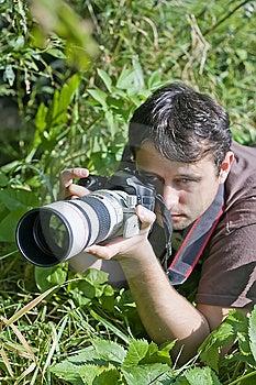Young Bird Watcher With Photo Camera Stock Photos - Image: 14252163