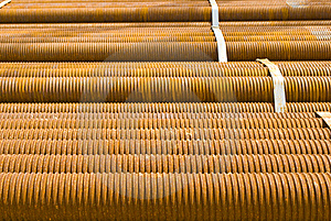 Industrial Shipment: Sheaf Of Metal Pipes Stock Images - Image: 14253814
