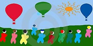 Hot Air Ballon Illustration Stock Photos - Image: 14254893