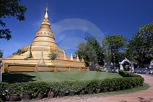 Mimetic Gold Pagoda With Blue Sky Stock Photography - Image: 14255122