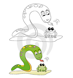 Snake & Frog Cartoon Stock Photos - Image: 14255993