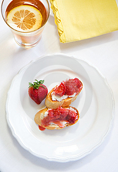 Crostini With Strawberry Rhubarb Compote Stock Photography - Image: 14256322