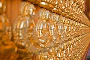 Ten Thousand Buddha On Chinese Temple Wall Royalty Free Stock Photos - Image: 14256378