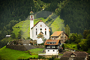 Church And Chalets, Switzerland Stock Images - Image: 14257374