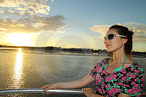 An Asian Girl Enjoying Sunset Stock Image - Image: 14261511