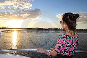 An Asian Girl Enjoying Sunset Royalty Free Stock Photos - Image: 14261818