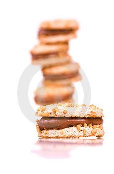 Cookies With Chocolate Royalty Free Stock Image - Image: 14263086