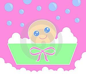Bebé Bath_Pink Imágenes de archivo libres de regalías - Imagen: 14263509