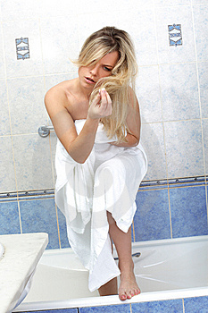 Woman Having A Problem Unhealthy Hair Stock Image - Image: 14266111