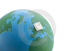 Home Computer Key On An Earth Globe Royalty Free Stock Image - Image: 14266316