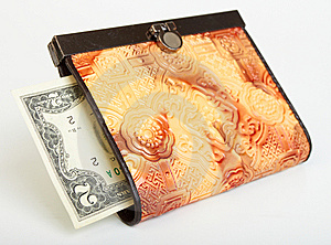 Two Dollar Bill In Purse Stock Images - Image: 14267294