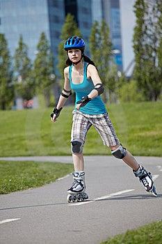 Rollerblade Girl II. Stock Photography - Image: 14267342