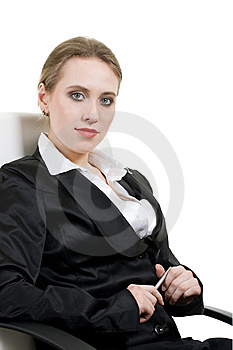 Portrait Of Smiling Business Woman On Office Chair Royalty Free Stock Images - Image: 14268699