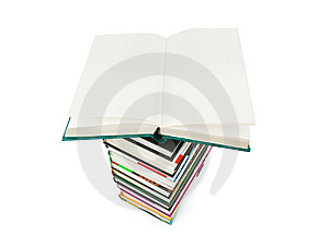 Opened Book On Stack Stock Photos - Image: 14270883