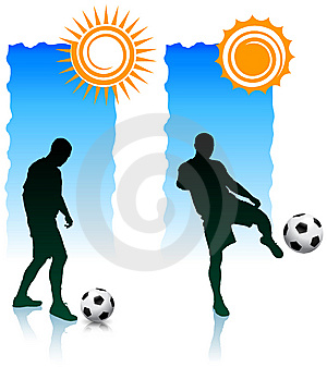 Soccer Players With Sunlight Banners Royalty Free Stock Image - Image: 14271406
