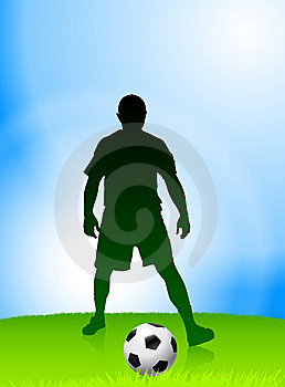 Soccer Player On Daytime Background Royalty Free Stock Photo - Image: 14271505