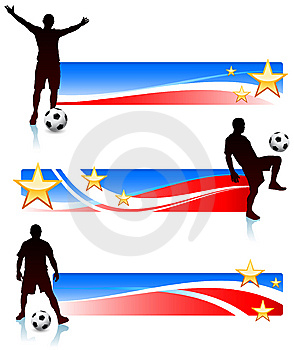 Soccer Players With Patriotic Banners Royalty Free Stock Photos - Image: 14271528