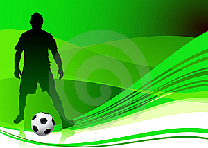 Soccer Player On Abstract Green Background Royalty Free Stock Photo - Image: 14271535