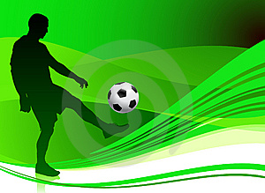 Soccer Player On Abstract Green Background Royalty Free Stock Photography - Image: 14271537