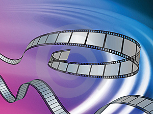 Film Reel On Abstract Liquid Wave Background Royalty Free Stock Photography - Image: 14271657
