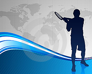 Tennis Player On Abstract Blue Background Royalty Free Stock Image - Image: 14271756