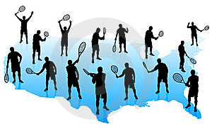 Tennis Team With United States Map Stock Images - Image: 14271784