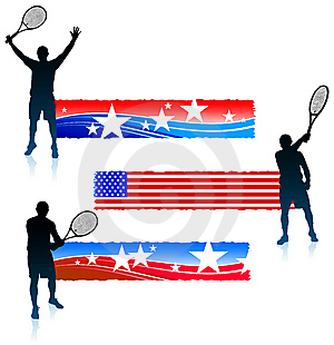 Tennis Player And United States Banner Set Royalty Free Stock Photo - Image: 14271815