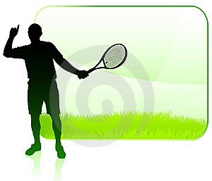 Tennis Player With Blank Nature Frame Stock Photos - Image: 14271833