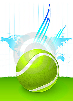 Tennis Ball With World Map Background Stock Image - Image: 14271851