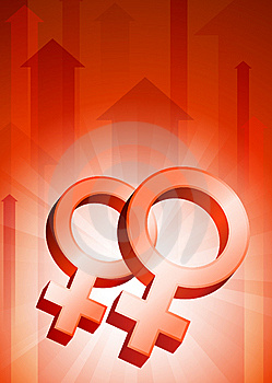 Lesbian Symbols On Red Arrow Background Royalty Free Stock Photography - Image: 14271927
