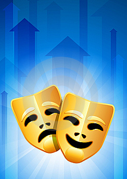 Tragedy And Comedy Masks On Blue Arrow Background Royalty Free Stock Images - Image: 14271929