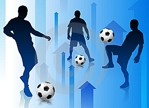 Soccer Player With Abstract Arrow Background Stock Photography - Image: 14272072