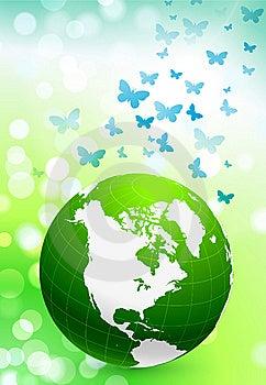 Green Nature Globe On Flare Background Royalty Free Stock Photo - Image: 14272085