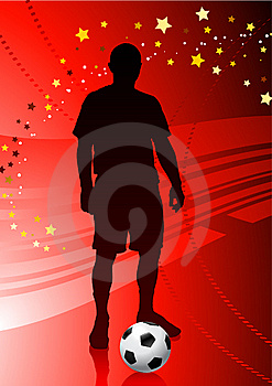 Soccer/Football Player On Red Background Royalty Free Stock Images - Image: 14272159