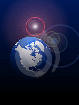 Globe On Lens Glare Background Stock Photos - Image: 14272163