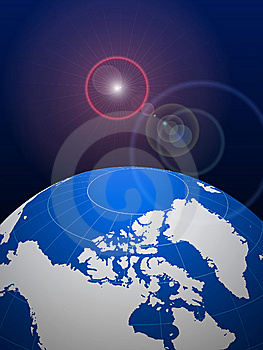 Globe On Lens Glare Background Stock Images - Image: 14272164