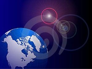 Globe On Lens Glare Background Royalty Free Stock Image - Image: 14272166